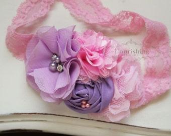 Pink and Lavender headbands, newborn headbands, flower headbands, pink headbands, photography prop