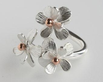 Handmade Adjustable Silver Daisy Flower Ring, Flower Ring, Floral Ring, Daisy Ring