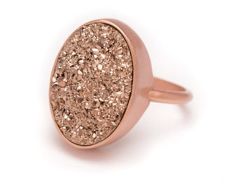 Rose Gold Druzy Ring - Rose Gold Ring - Druzy in Rose Gold Ring - Druzy / Drusy Quartz - Available in Sizes 5, 6, 7 and 8