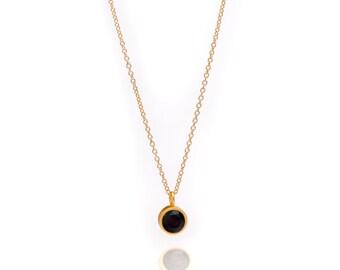 Gemstone POP Necklace - Gold Necklace - Black Onyx Necklace - Small Gemstone Pendant Necklace - 24k Gold Vermeil