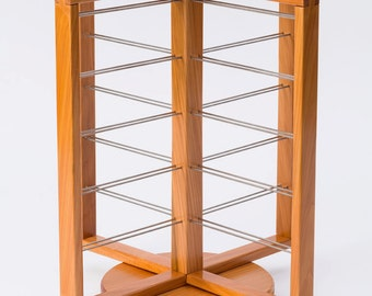 Freestanding Rotating counter top open square 4 sided Cedar Wood Earring Jewelry Display Fixture