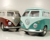 Pair Of Two Vintage Tin Friction Volkswagen T1 Sambas From Japan, New Old Stock from 1985