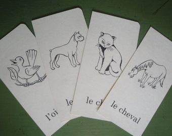 Vintage French Flashcards ~ Animal Themed ~ Set of 4