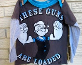 """4T Popeye """"These Guns Are Loaded"""" Long Sleeve Layered Sleeve Upcycled T-Shirt. Grey, Blue, White, Biceps, corncob pipe /Gifts under 50"""