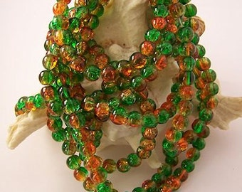 "Orange and Green Crackle Glass Beads-  6mm - 30"" Strand"