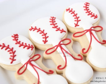 Baseball Baby Rattle Decorated Sugar Cookie Favors, It's A Boy Decorated Cookies, Baby Shower Cookie Favors