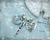 US Navy  hand stamped necklace with anchor & heart charms by Son and Sea FREE US shipping