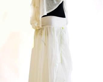 White parashute summer skirt /Handmade skirt/ Day dress Summer Trendy/skirt in white/Pockets Skirt/ Extravagant skirt/ Made by Gabyga