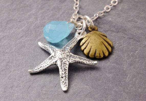 Starfish Necklace, beach necklace, ocean necklace, summer necklace, starfish necklace, sea shell necklace, coastal necklace, bridesmaid, N20