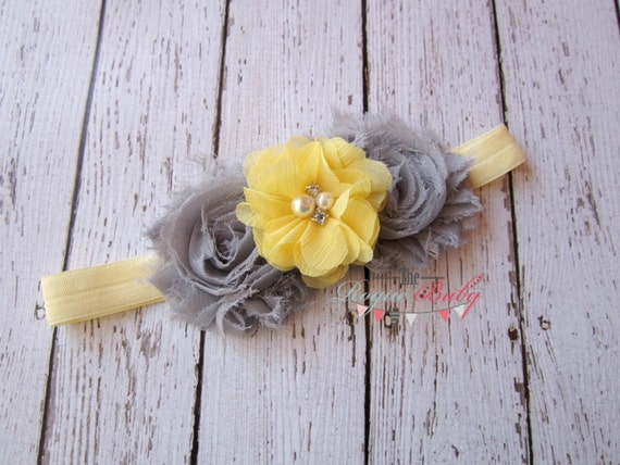 Yellow & Gray Headband -  Photo Prop - Newborn Infant Baby Toddler Girls Adult Flower Girl Wedding