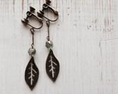 Aqua Green Clip On Earrings, Metal Leaf Clip Earrings, Screw Back Ear Clips, Non Pierced, Antique Brass