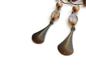 Bronze Gold with Metal Teardrop Clip On Earrings, Dangle Clip Earring, Non pierced earring, Antique Brass, Screw Back