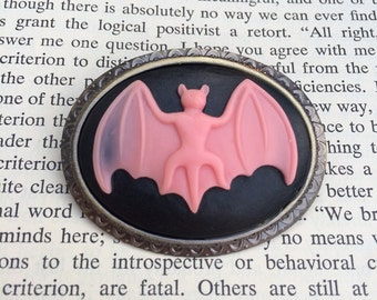 Pink On Black Bat Silhouette Cameo Brooch