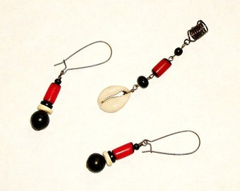 SALE - Red, Black and White Caribbean Flair Loc Jewel and Earrings Set