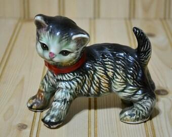 Vintage Ceramic Kitten Cat Figurine Figure Enesco Imports Japan