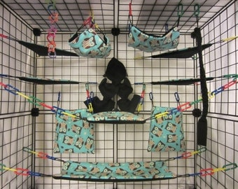 15 pc Sugar Glider Cage Set - Rat - Blue Owls