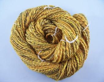 Handspun Yarn in Yellow Gold 78 yds 2 ply