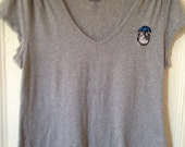 Hand Stitched Upcycled Grey Tshirt