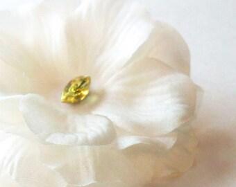 Bridal Hairpiece, White Flower Hair Clip, Handmade Silk Flower with vintage rhinestone