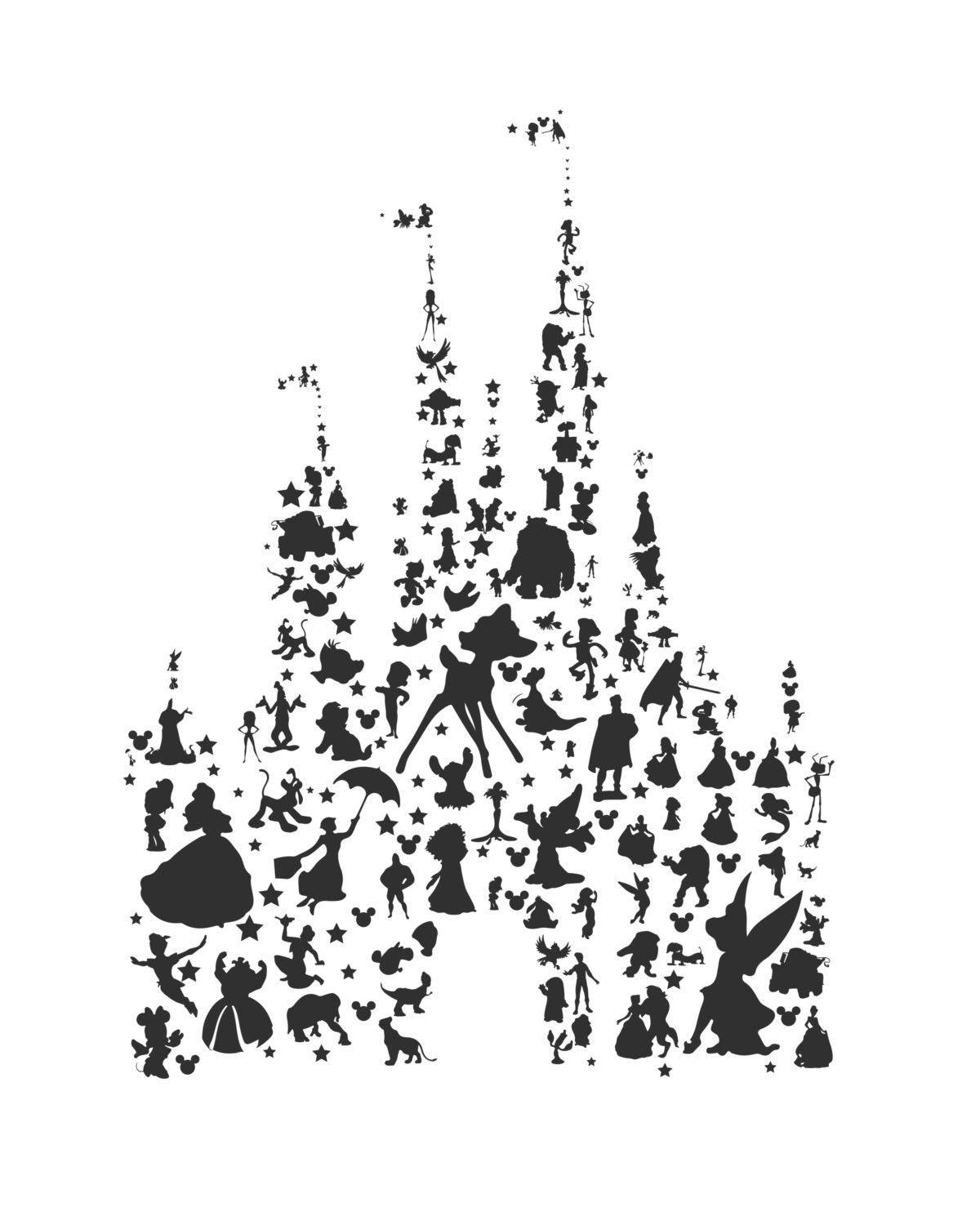 It's just an image of Astounding Disney Character Silhouettes