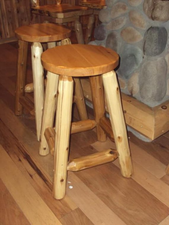 Rustic Round Log Barstool Outdoor Furniture Cedar Home Lodge