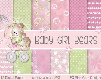 Baby Girl Bears - Digi Papers - 12 Baby Prints  Downloadable Paper Pack
