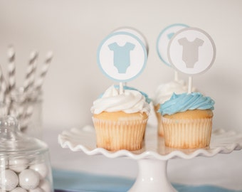Baby Shower Cupcake Toppers - Set of 12, One Piece Baby Shower, Baby Shower Decoration, Baby Shower Cupcake Toppers, Light Blue and Gray