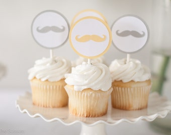 Little Man Baby Shower, Mustache Cupcake Toppers, Boy Birthday, Boy Baby Shower Decoration, Yellow and Gray Boy Shower