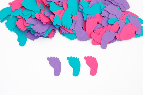 Baby shower baby shower confetti footprint confetti for Baby confetti decoration