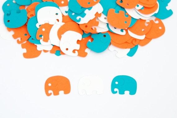 Elephant Baby Shower Decoration Confetti Orange Turquoise