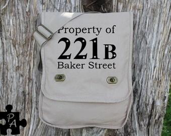"Sherlock Holmes inspired ""Property of 221B Baker Street"" Canvas Messenger Bag - Laptop Bag - iPad Bag - Diaper Bag - School Bag"