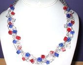Red, white, and blue cube glass bead braided wire crochet necklace