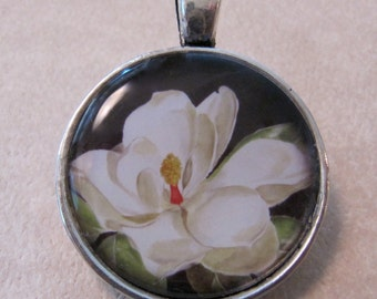 White Magnolia Pendant or Charm