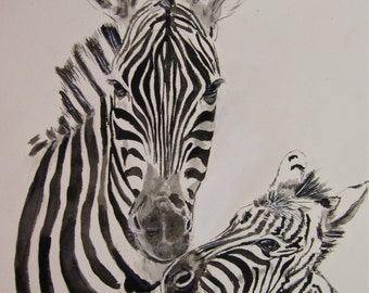 Zebras Watercolor Print