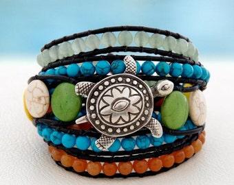 Caretta Caretta... Leather wrap bracelet... Beaded Five Wrap Bracelet. Original OceanBead Style.