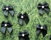 Black Ribbon Bow, Embellishment with faux pearl bead. Set of eight. Other colors available. 1 inch