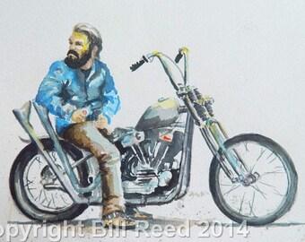 Biker Dude - Original Watercolor Painting