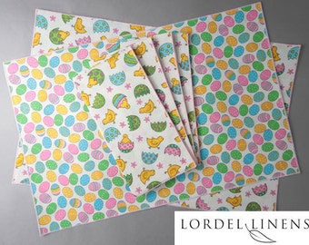 Easter Chicks Placemat and Napkin Set, Set of 4 Easter Placemats with 4 Matching Napkins, Easter Chick and Egg, Easter Decor, Table Accents