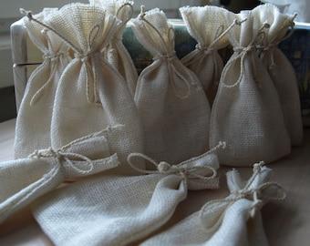 "Natural Ivory Linen Favor Bags 3 1/2""x6"" Set of 10"