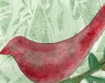 Red Bird cards from Print of Original Watercolor Painting - Set of 10 cards