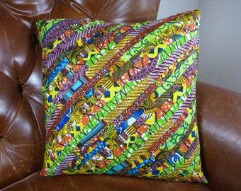 Pillow Cover - African - Wax Print - 18 x 18 - Ghana - Patchwork