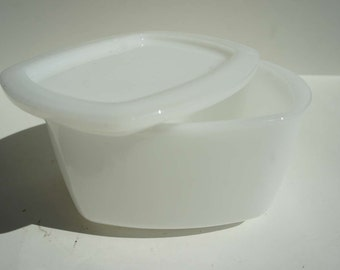 Vintage Milk Glass Box Refrigerator Box