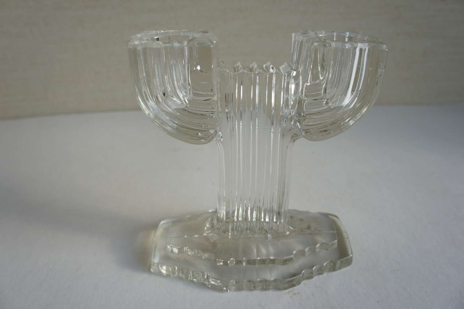 Vintage Glass Art Deco Candle Holder: Art Deco Depression Glass Candle Holder Queen Mary