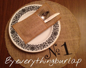 Round burlap Place Mats with Numbers