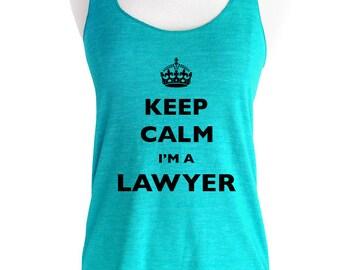 Keep Calm I'm A Lawyer Soft Tri-Blend Racerback Tank