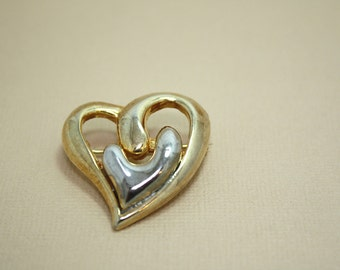 Vintage Heart Brooch in Gold and Silver Double Hearts