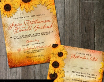 Fall Wedding Invitations Sunflower Wedding Invitation And RSVP Reply Card
