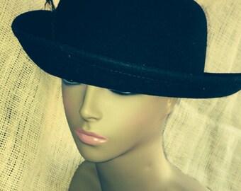 Vintage Black Felt Hat with Feathers