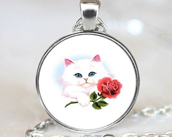 Kitten with Rose Handcrafted  Necklace Pendant (PD0005)