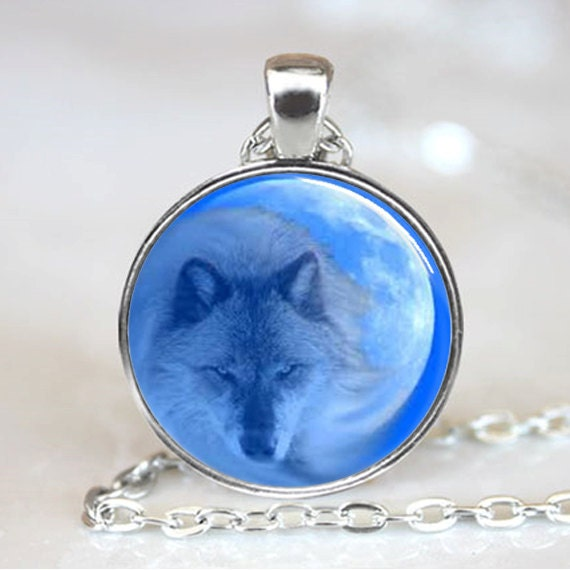 Wolf with Moon in Back Ground Handcrafted  Necklace Pendant (PD0143)